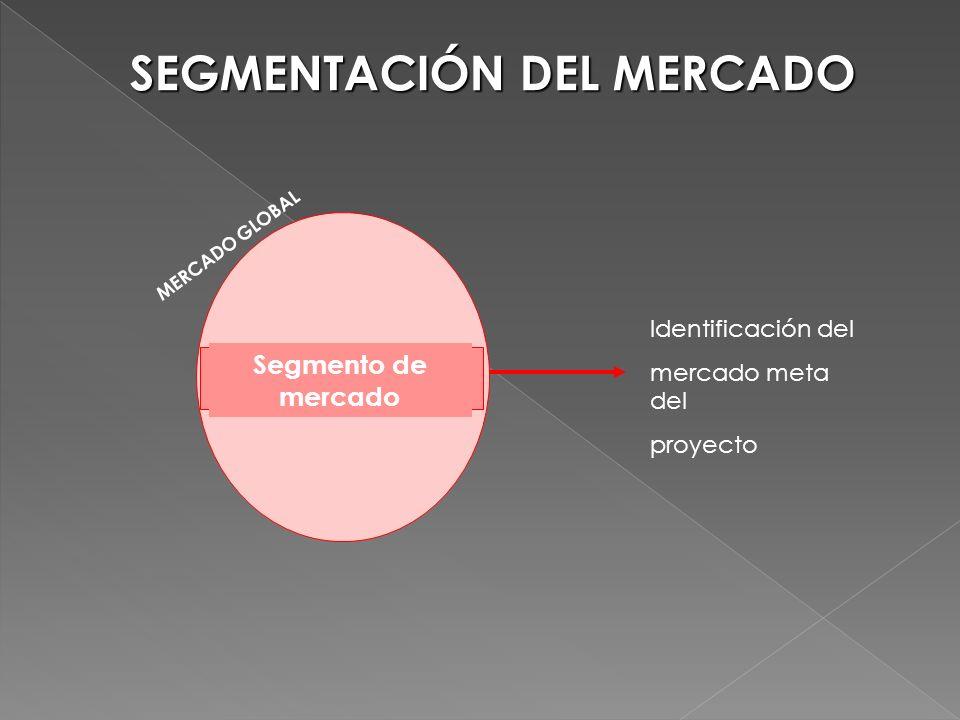 Segmento de mercado MERCADO GLOBAL Identificación del mercado meta del proyecto SEGMENTACIÓN DEL MERCADO
