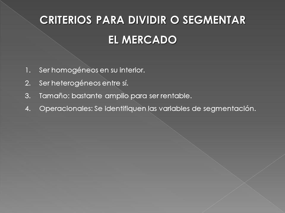 CRITERIOS PARA DIVIDIR O SEGMENTAR EL MERCADO 1.Ser homogéneos en su interior. 2.Ser heterogéneos entre sí. 3.Tamaño: bastante amplio para ser rentabl