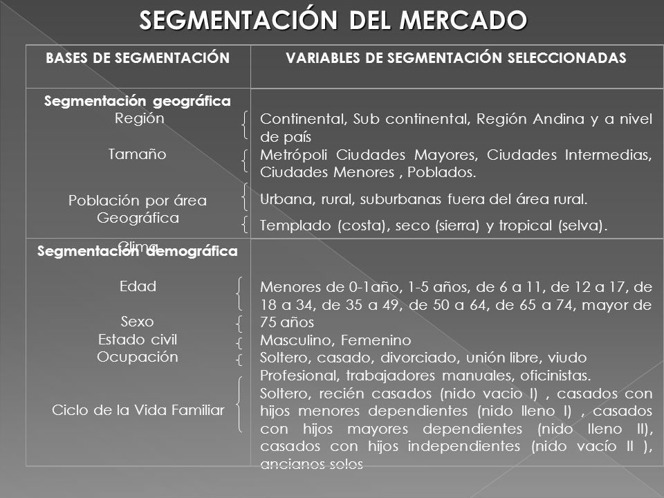 SEGMENTACIÓN DEL MERCADO BASES DE SEGMENTACIÓNVARIABLES DE SEGMENTACIÓN SELECCIONADAS Segmentación geográfica Región Tamaño Población por área Geográf