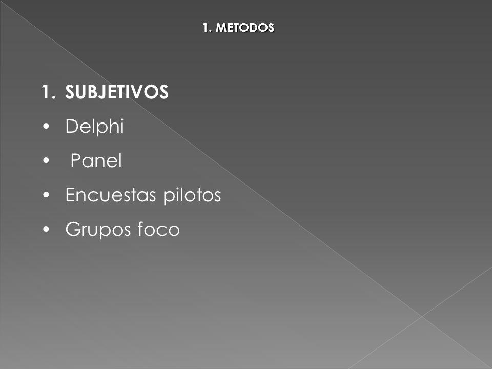1. METODOS 1.SUBJETIVOS Delphi Panel Encuestas pilotos Grupos foco