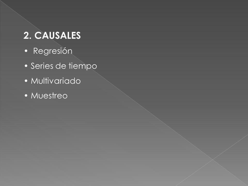 2. CAUSALES Regresión Series de tiempo Multivariado Muestreo