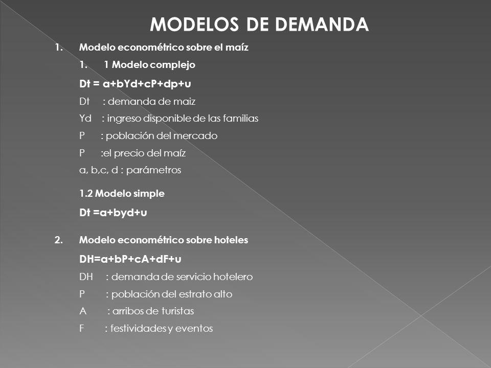 MODELOS DE DEMANDA 1.Modelo econométrico sobre el maíz 1.1 Modelo complejo Dt = a+bYd+cP+dp+u Dt : demanda de maiz Yd : ingreso disponible de las fami