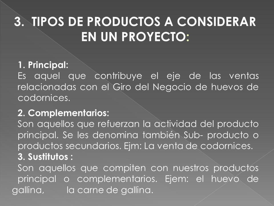 3. TIPOS DE PRODUCTOS A CONSIDERAR EN UN PROYECTO: 1. Principal: Es aquel que contribuye el eje de las ventas relacionadas con el Giro del Negocio de