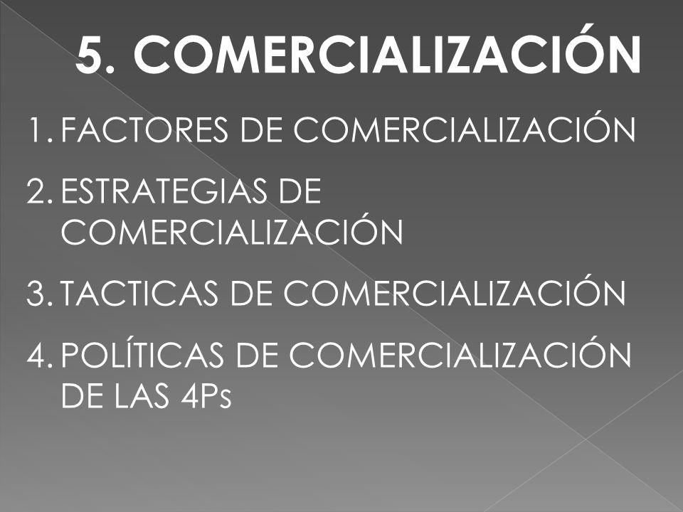 5. COMERCIALIZACIÓN 1.FACTORES DE COMERCIALIZACIÓN 2.ESTRATEGIAS DE COMERCIALIZACIÓN 3.TACTICAS DE COMERCIALIZACIÓN 4.POLÍTICAS DE COMERCIALIZACIÓN DE