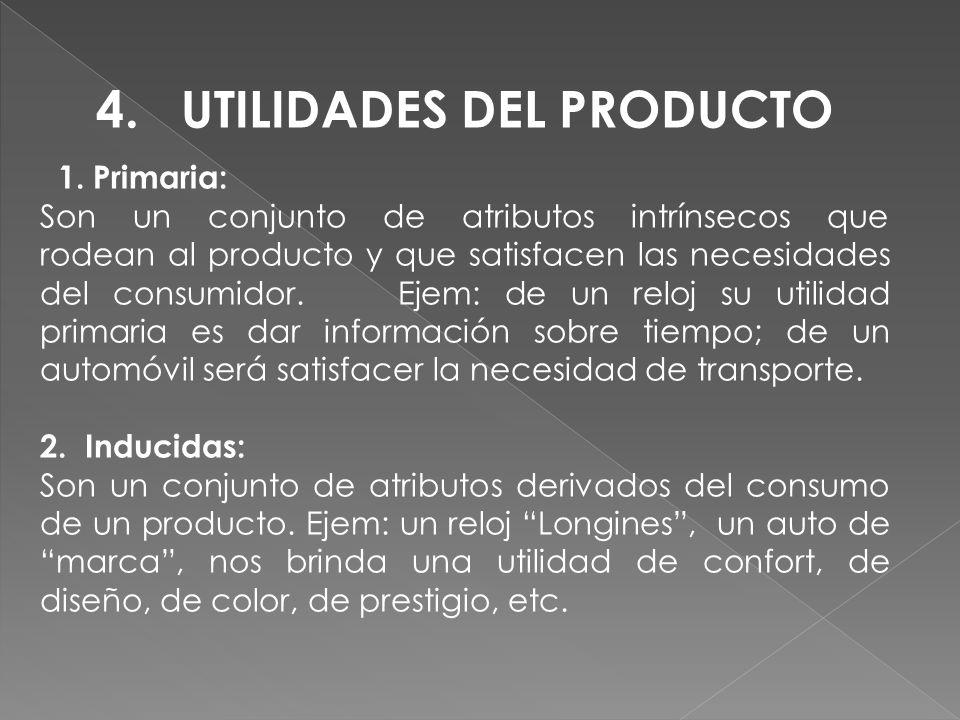 4. UTILIDADES DEL PRODUCTO 1. Primaria: Son un conjunto de atributos intrínsecos que rodean al producto y que satisfacen las necesidades del consumido