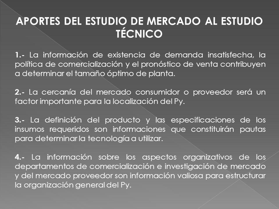 1.- La información de existencia de demanda insatisfecha, la política de comercialización y el pronóstico de venta contribuyen a determinar el tamaño