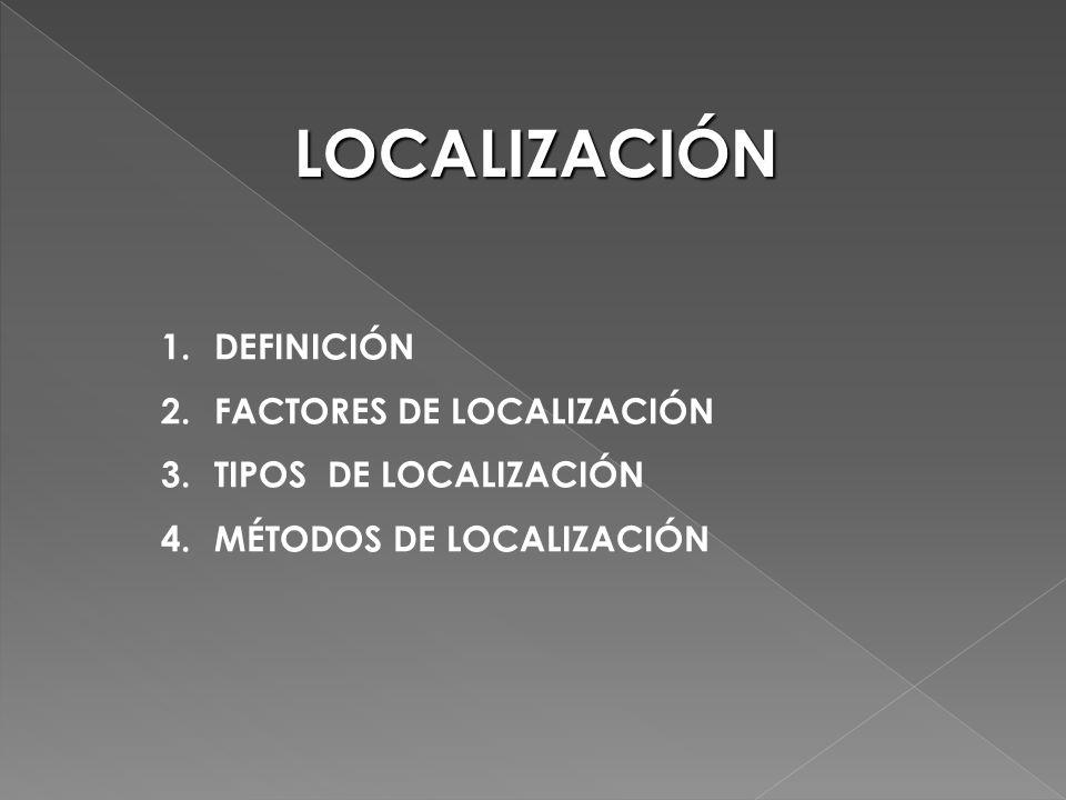 1.DEFINICIÓN 2.FACTORES DE LOCALIZACIÓN 3.TIPOS DE LOCALIZACIÓN 4.MÉTODOS DE LOCALIZACIÓN LOCALIZACIÓN