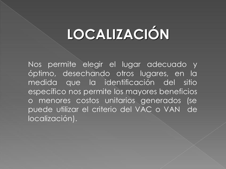 Nos permite elegir el lugar adecuado y óptimo, desechando otros lugares, en la medida que la identificación del sitio específico nos permite los mayor