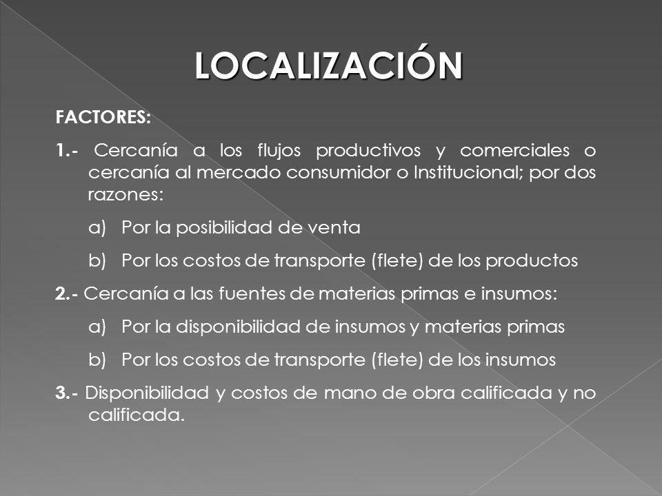 LOCALIZACIÓN FACTORES: 1.- Cercanía a los flujos productivos y comerciales o cercanía al mercado consumidor o Institucional; por dos razones: a)Por la