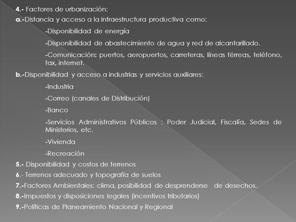 4.- Factores de urbanización: a.- Distancia y acceso a la infraestructura productiva como: - Disponibilidad de energía - Disponibilidad de abastecimie