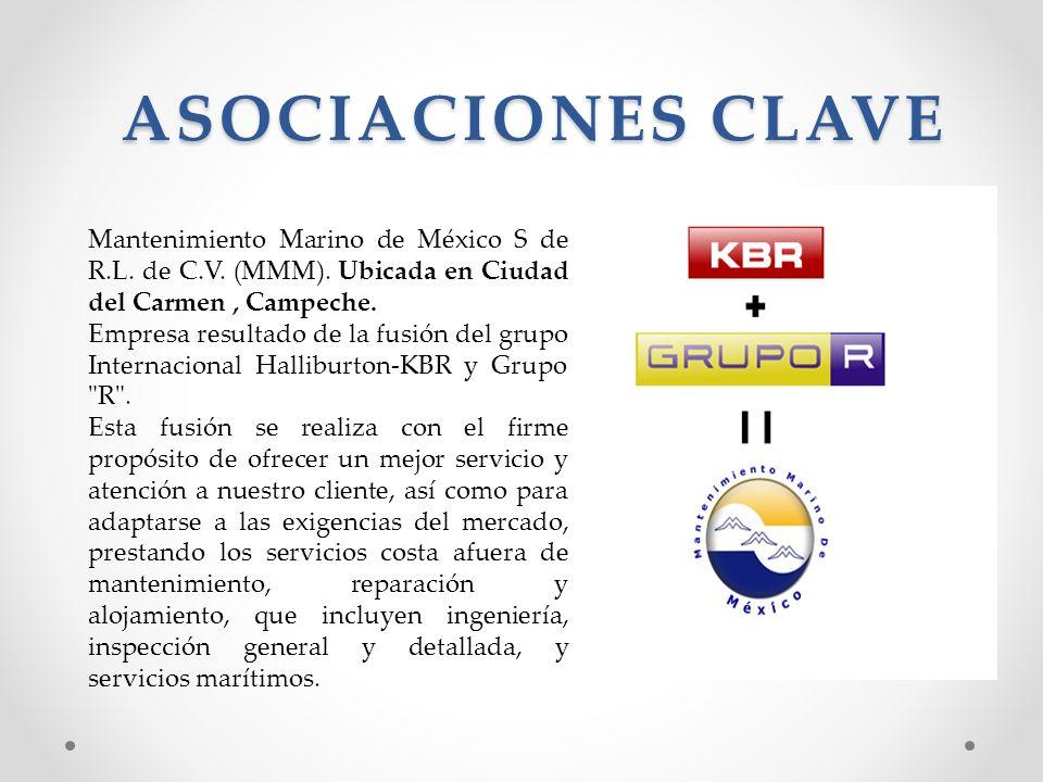 ASOCIACIONES CLAVE Mantenimiento Marino de México S de R.L. de C.V. (MMM). Ubicada en Ciudad del Carmen, Campeche. Empresa resultado de la fusión del