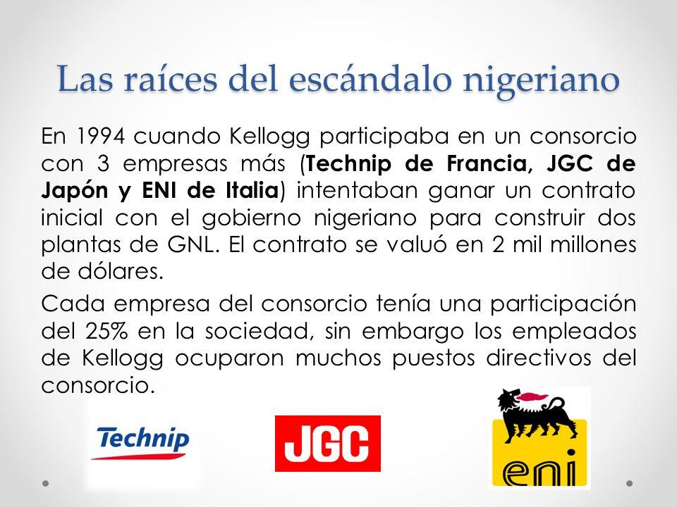 Las raíces del escándalo nigeriano En 1994 cuando Kellogg participaba en un consorcio con 3 empresas más ( Technip de Francia, JGC de Japón y ENI de I