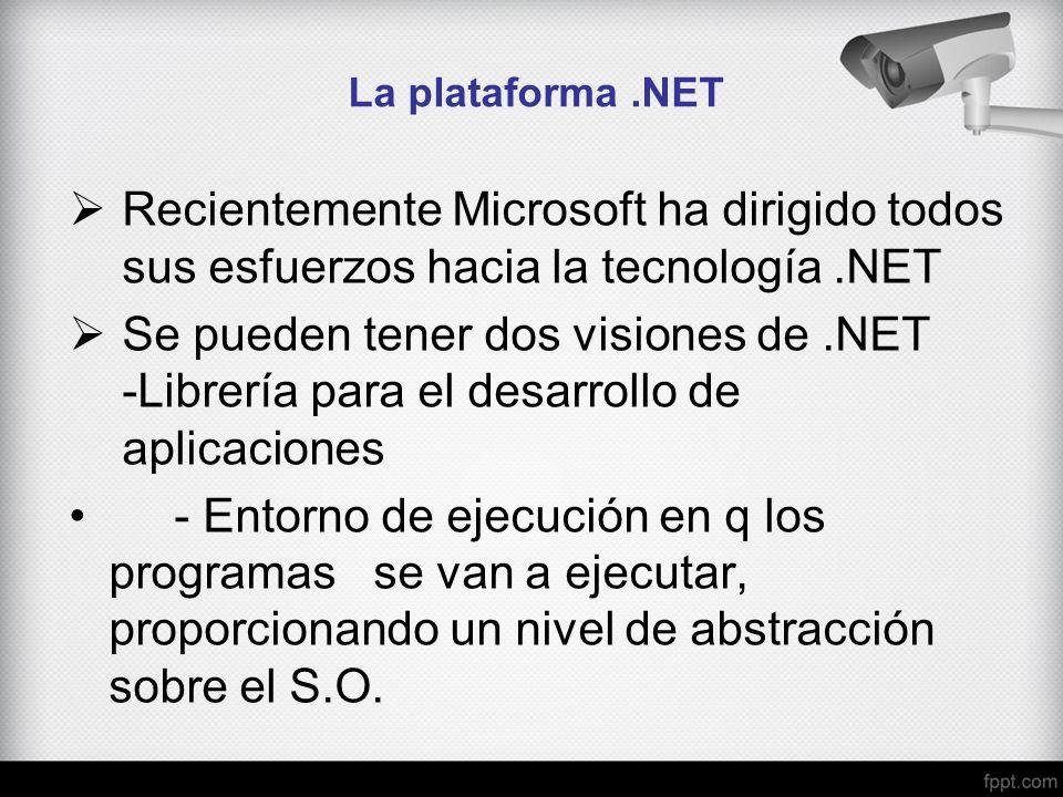 La plataforma.NET Recientemente Microsoft ha dirigido todos sus esfuerzos hacia la tecnología.NET Se pueden tener dos visiones de.NET -Librería para e