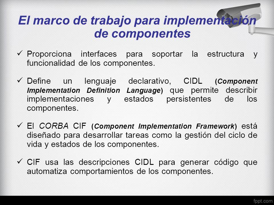 El marco de trabajo para implementación de componentes Proporciona interfaces para soportar la estructura y funcionalidad de los componentes. Define u