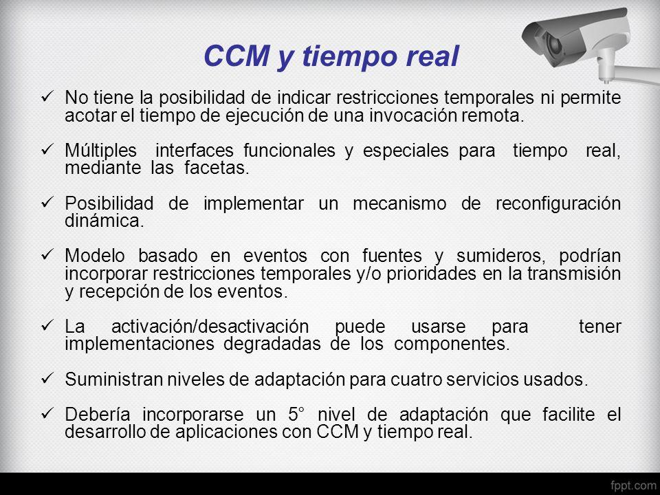 CCM y tiempo real No tiene la posibilidad de indicar restricciones temporales ni permite acotar el tiempo de ejecución de una invocación remota. Múlti