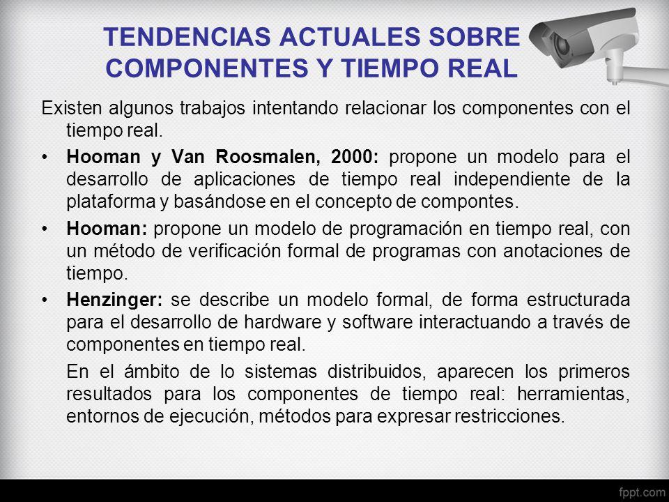 TENDENCIAS ACTUALES SOBRE COMPONENTES Y TIEMPO REAL Existen algunos trabajos intentando relacionar los componentes con el tiempo real. Hooman y Van Ro