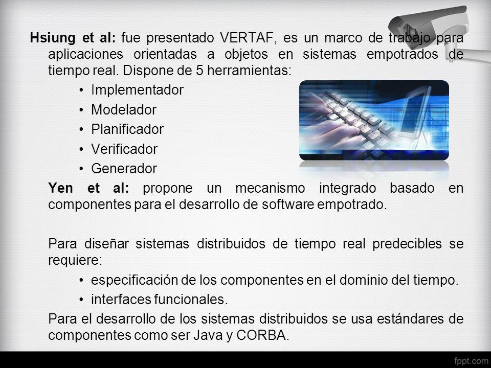 Hsiung et al: fue presentado VERTAF, es un marco de trabajo para aplicaciones orientadas a objetos en sistemas empotrados de tiempo real. Dispone de 5