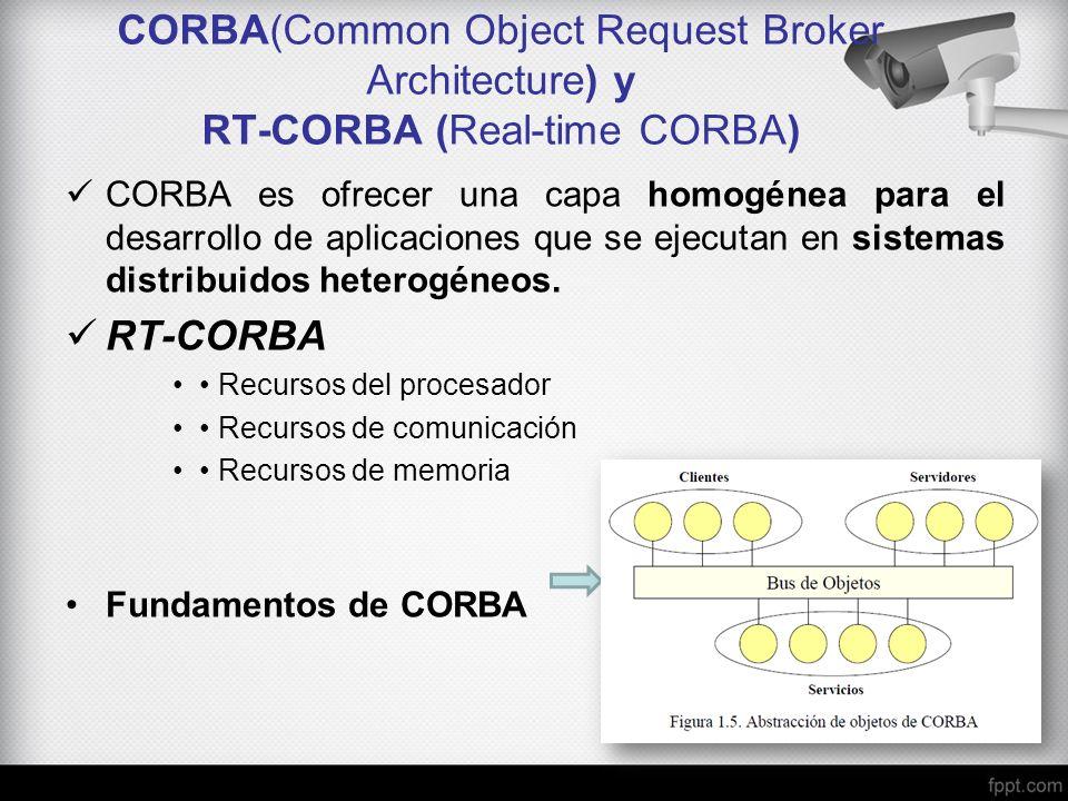 CORBA(Common Object Request Broker Architecture) y RT-CORBA (Real-time CORBA) CORBA es ofrecer una capa homogénea para el desarrollo de aplicaciones q