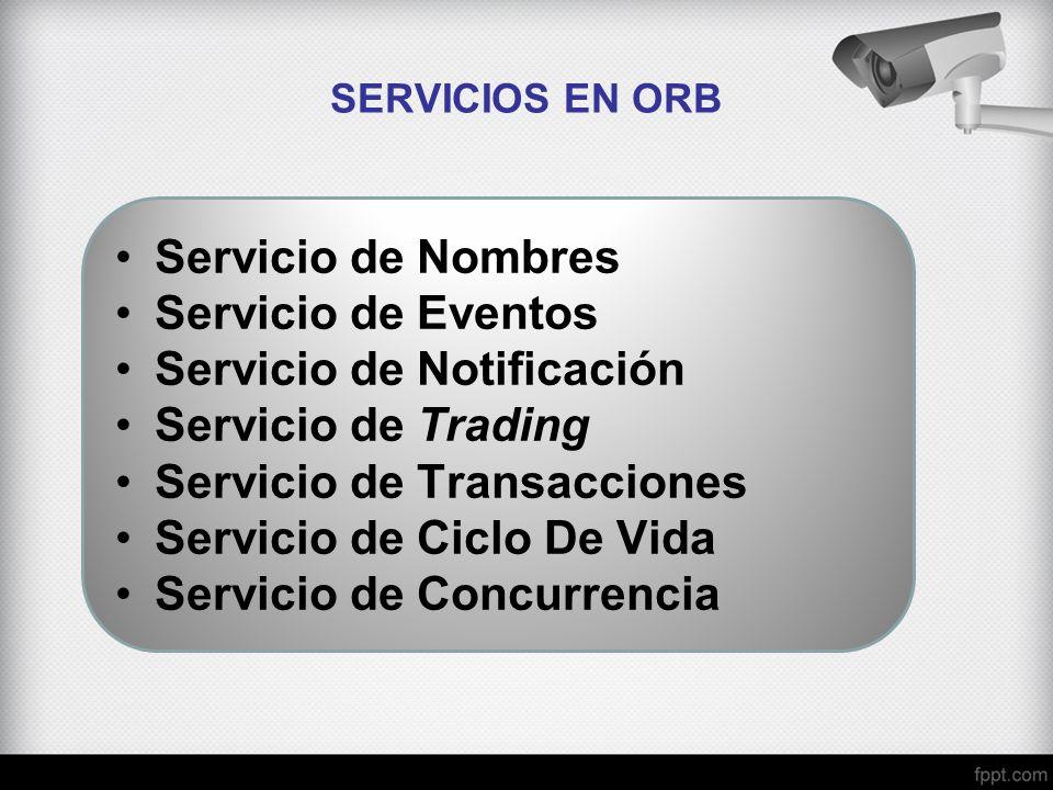 SERVICIOS EN ORB Servicio de Nombres Servicio de Eventos Servicio de Notificación Servicio de Trading Servicio de Transacciones Servicio de Ciclo De V