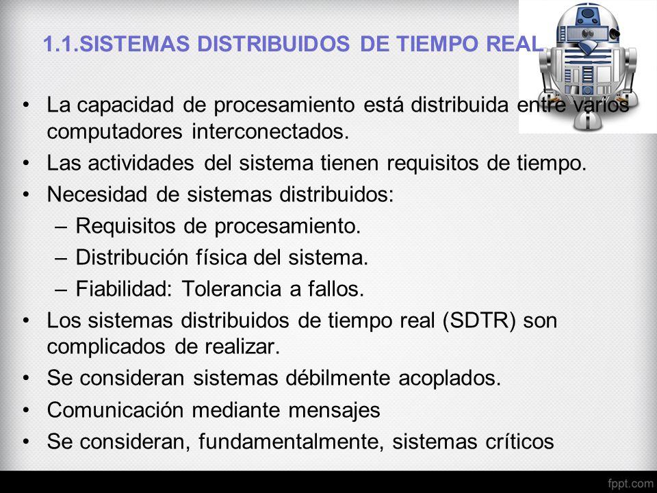1.1.SISTEMAS DISTRIBUIDOS DE TIEMPO REAL La capacidad de procesamiento está distribuida entre varios computadores interconectados. Las actividades del