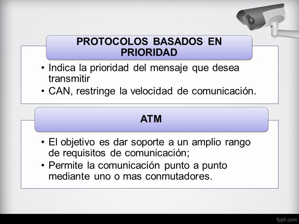 Indica la prioridad del mensaje que desea transmitir CAN, restringe la velocidad de comunicación. PROTOCOLOS BASADOS EN PRIORIDAD El objetivo es dar s