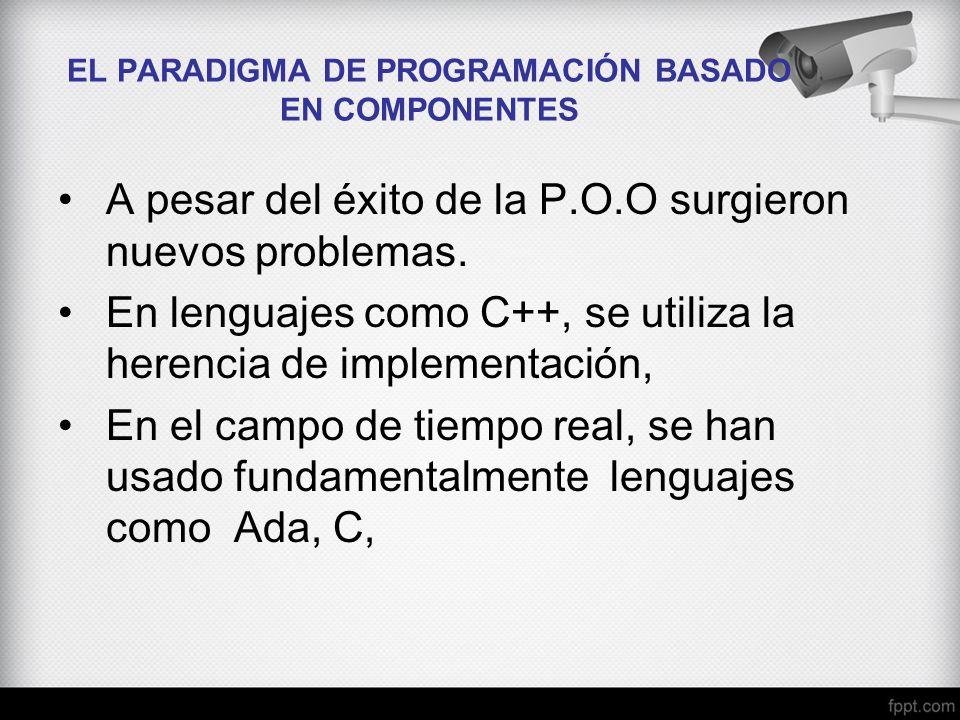 EL PARADIGMA DE PROGRAMACIÓN BASADO EN COMPONENTES A pesar del éxito de la P.O.O surgieron nuevos problemas. En lenguajes como C++, se utiliza la here