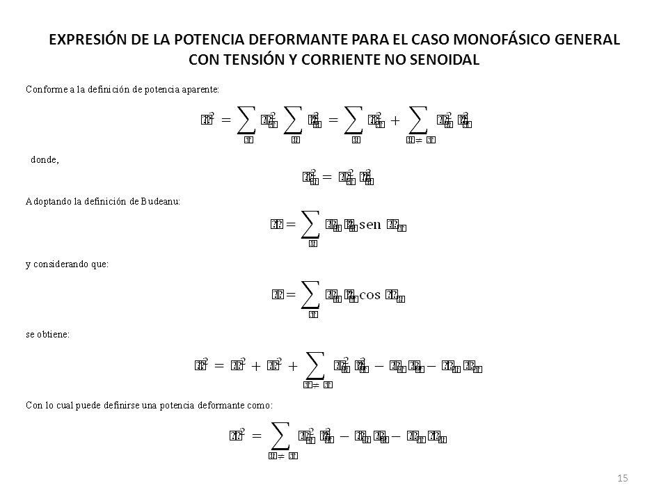 EXPRESIÓN DE LA POTENCIA DEFORMANTE PARA EL CASO MONOFÁSICO GENERAL CON TENSIÓN Y CORRIENTE NO SENOIDAL 15