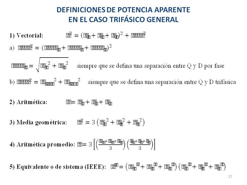 DEFINICIONES DE POTENCIA APARENTE EN EL CASO TRIFÁSICO GENERAL 17