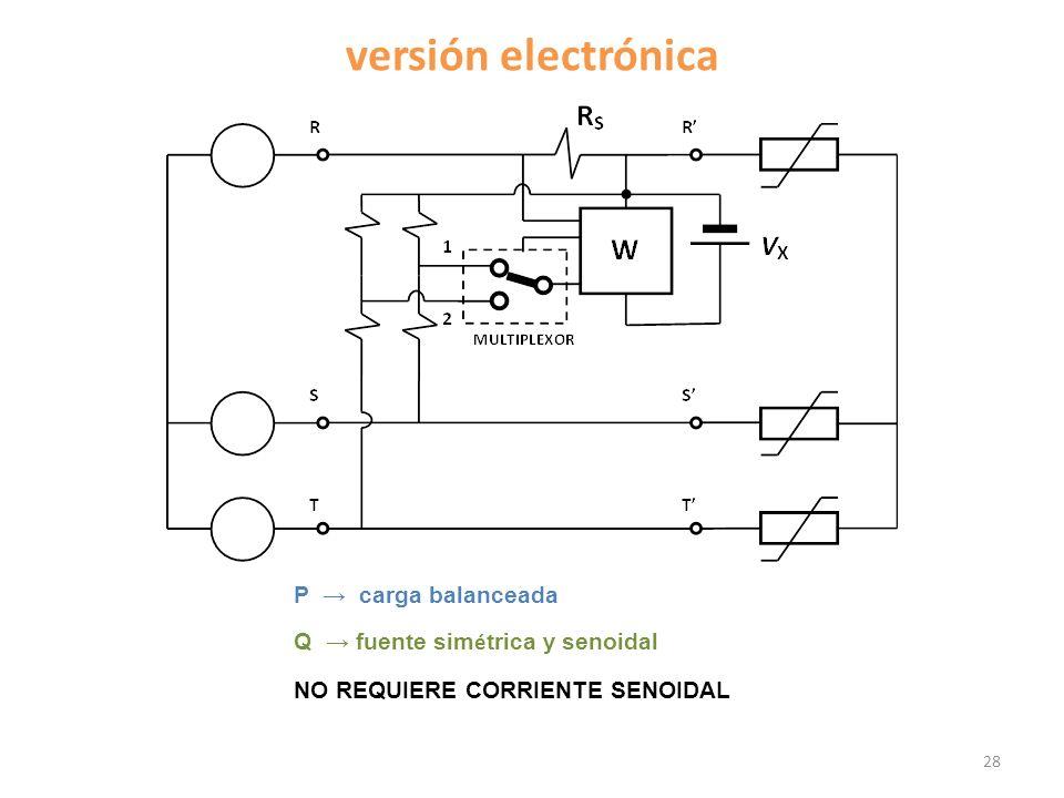 versión electrónica 28 P carga balanceada Q fuente sim é trica y senoidal NO REQUIERE CORRIENTE SENOIDAL