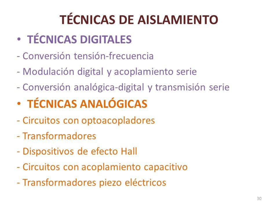 TÉCNICAS DE AISLAMIENTO TÉCNICAS DIGITALES - Conversión tensión-frecuencia - Modulación digital y acoplamiento serie - Conversión analógica-digital y