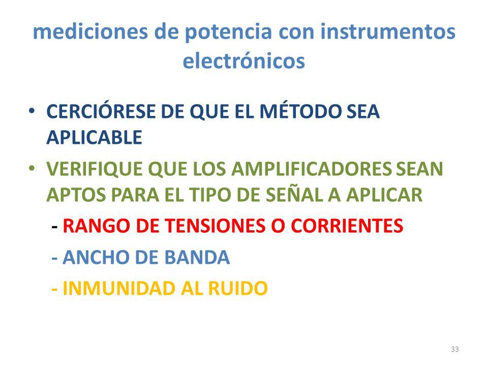 mediciones de potencia con instrumentos electrónicos CERCIÓRESE DE QUE EL MÉTODO SEA APLICABLE VERIFIQUE QUE LOS AMPLIFICADORES SEAN APTOS PARA EL TIP
