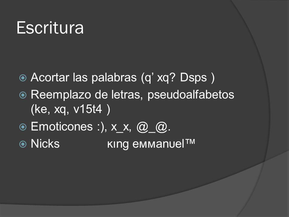Escritura Acortar las palabras (q xq? Dsps ) Reemplazo de letras, pseudoalfabetos (ke, xq, v15t4 ) Emoticones :), x_x, @_@. Nicks ĸιng eммanυel