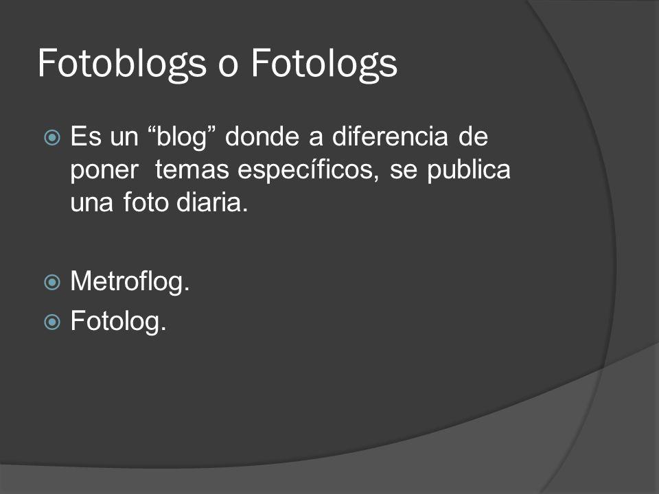 Fotoblogs o Fotologs Es un blog donde a diferencia de poner temas específicos, se publica una foto diaria. Metroflog. Fotolog.