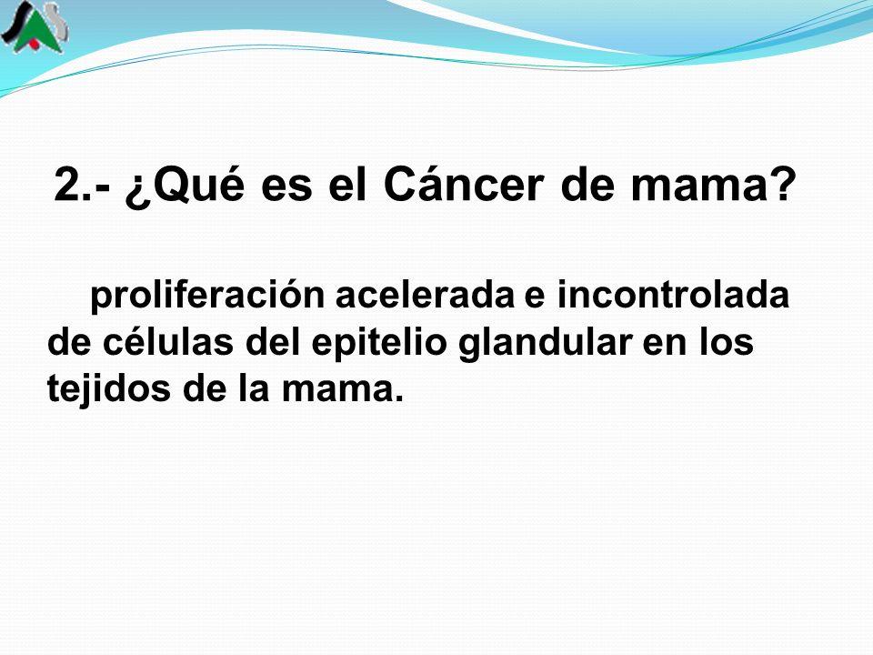 2.- ¿Qué es el Cáncer de mama? proliferación acelerada e incontrolada de células del epitelio glandular en los tejidos de la mama.