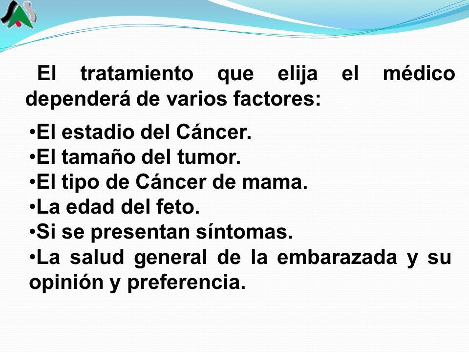 El estadio del Cáncer. El tamaño del tumor. El tipo de Cáncer de mama. La edad del feto. Si se presentan síntomas. La salud general de la embarazada y