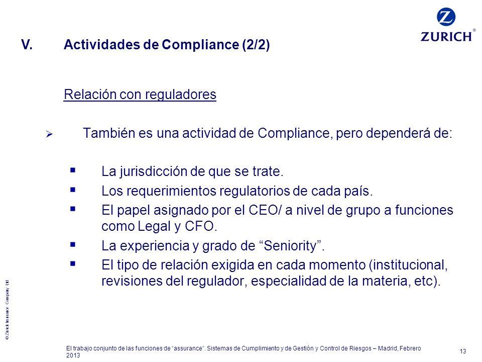 © Zurich Insurance Company Ltd 13 El trabajo conjunto de las funciones de assurance. Sistemas de Cumplimiento y de Gestión y Control de Riesgos – Madr