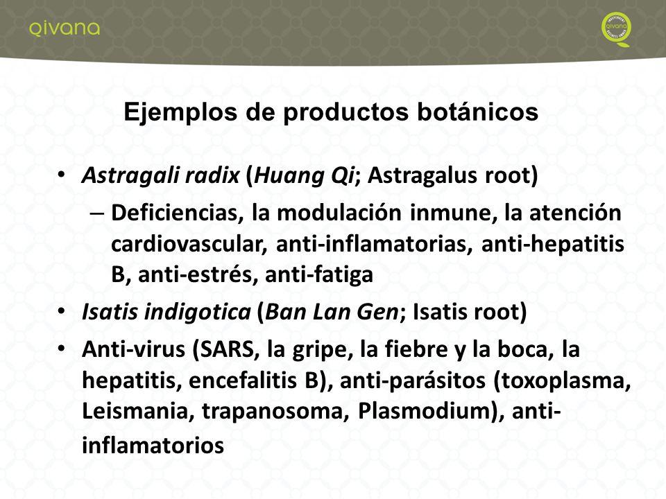 5 Astragali radix (Huang Qi; Astragalus root) – Deficiencias, la modulación inmune, la atención cardiovascular, anti-inflamatorias, anti-hepatitis B, anti-estrés, anti-fatiga Isatis indigotica (Ban Lan Gen; Isatis root) Anti-virus (SARS, la gripe, la fiebre y la boca, la hepatitis, encefalitis B), anti-parásitos (toxoplasma, Leismania, trapanosoma, Plasmodium), anti- inflamatorios Ejemplos de productos botánicos