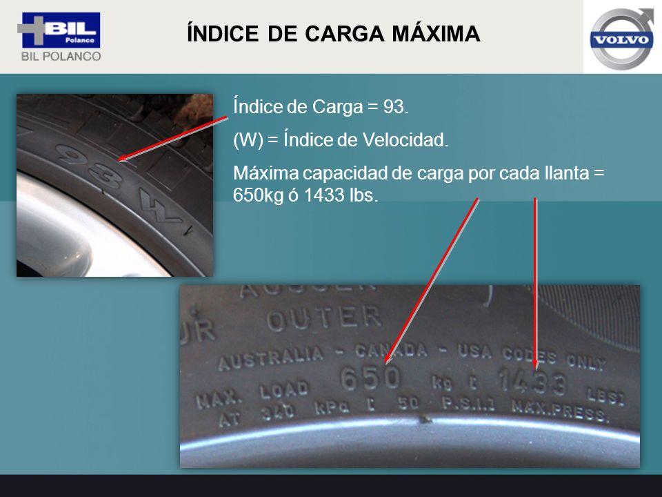 Índice de Carga = 93. (W) = Índice de Velocidad. Máxima capacidad de carga por cada llanta = 650kg ó 1433 lbs. ÍNDICE DE CARGA MÁXIMA