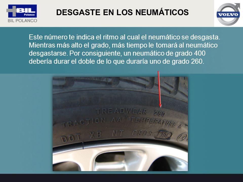 Este número te indica el ritmo al cual el neumático se desgasta. Mientras más alto el grado, más tiempo le tomará al neumático desgastarse. Por consig
