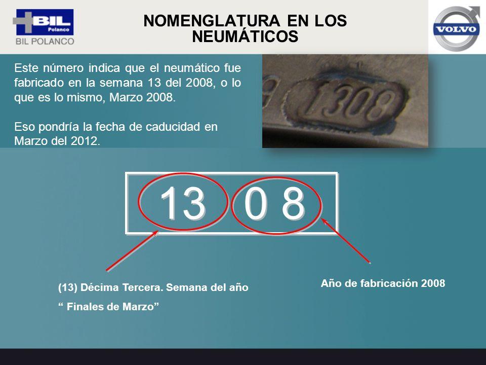Año de fabricación 2008 Este número indica que el neumático fue fabricado en la semana 13 del 2008, o lo que es lo mismo, Marzo 2008. Eso pondría la f