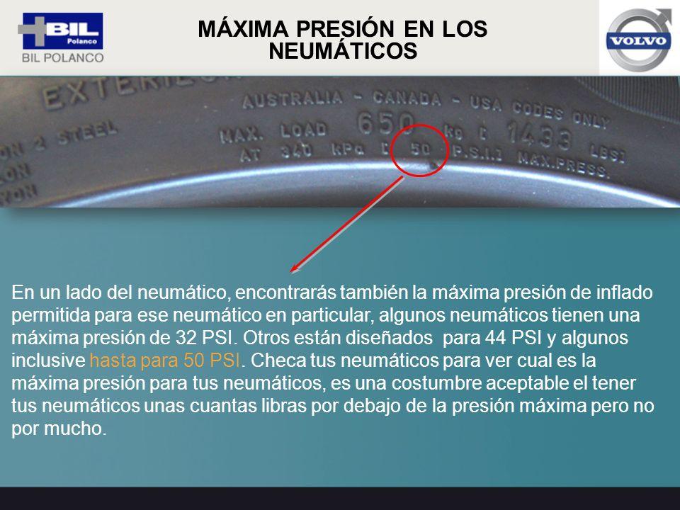 En un lado del neumático, encontrarás también la máxima presión de inflado permitida para ese neumático en particular, algunos neumáticos tienen una m