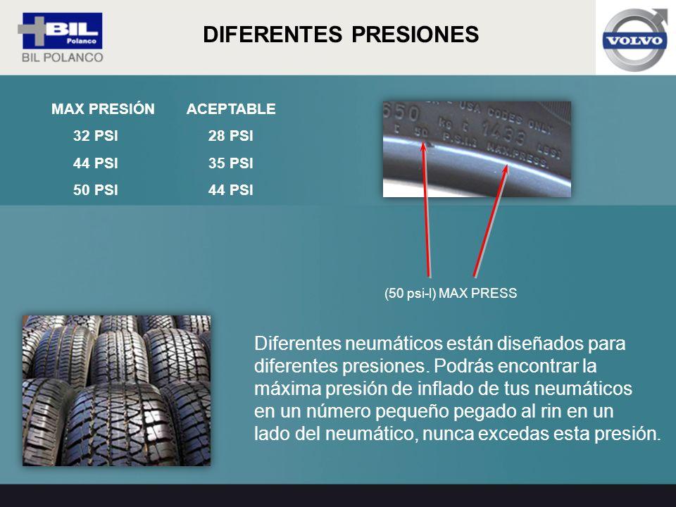 Diferentes neumáticos están diseñados para diferentes presiones. Podrás encontrar la máxima presión de inflado de tus neumáticos en un número pequeño