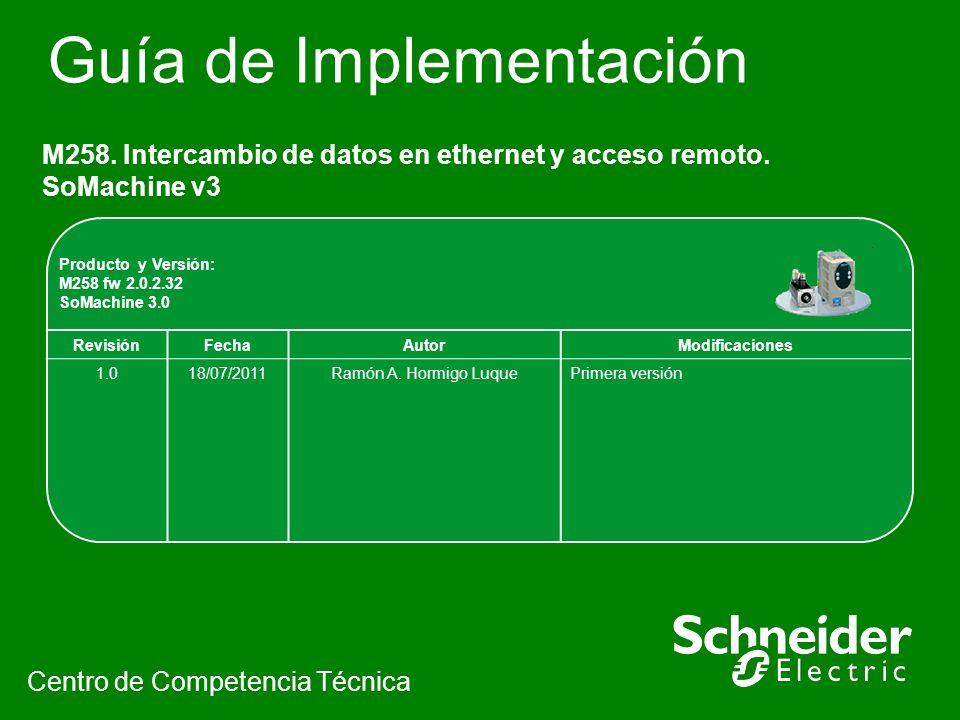 Guía de Implementación M258. Intercambio de datos en ethernet y acceso remoto. SoMachine v3 Centro de Competencia Técnica Producto y Versión: M258 fw