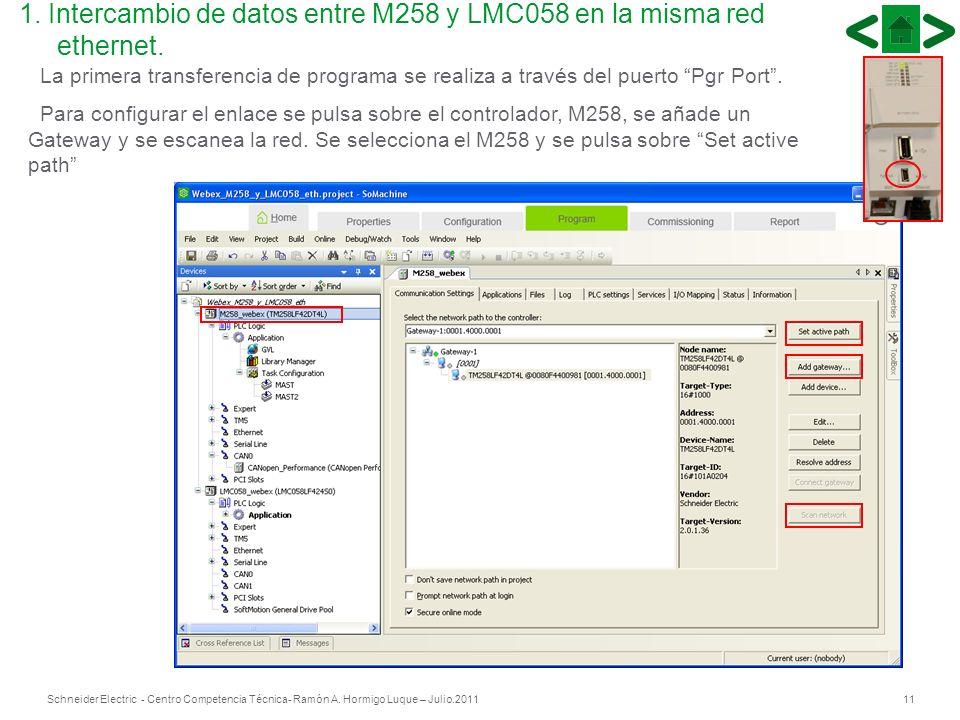 11Schneider Electric - Centro Competencia Técnica- Ramón A. Hormigo Luque – Julio.2011 La primera transferencia de programa se realiza a través del pu
