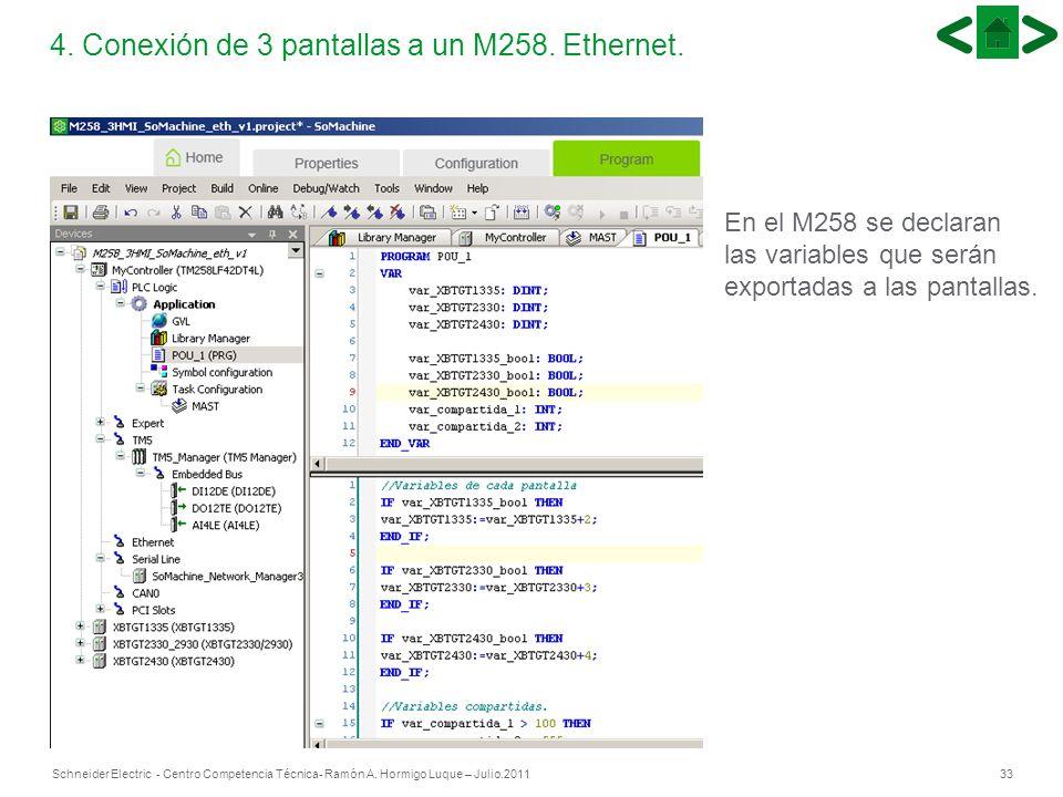 33Schneider Electric - Centro Competencia Técnica- Ramón A. Hormigo Luque – Julio.2011 4. Conexión de 3 pantallas a un M258. Ethernet. En el M258 se d
