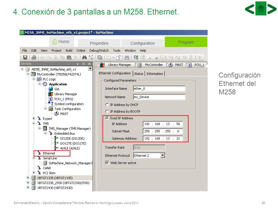 36Schneider Electric - Centro Competencia Técnica- Ramón A. Hormigo Luque – Julio.2011 4. Conexión de 3 pantallas a un M258. Ethernet. Configuración E