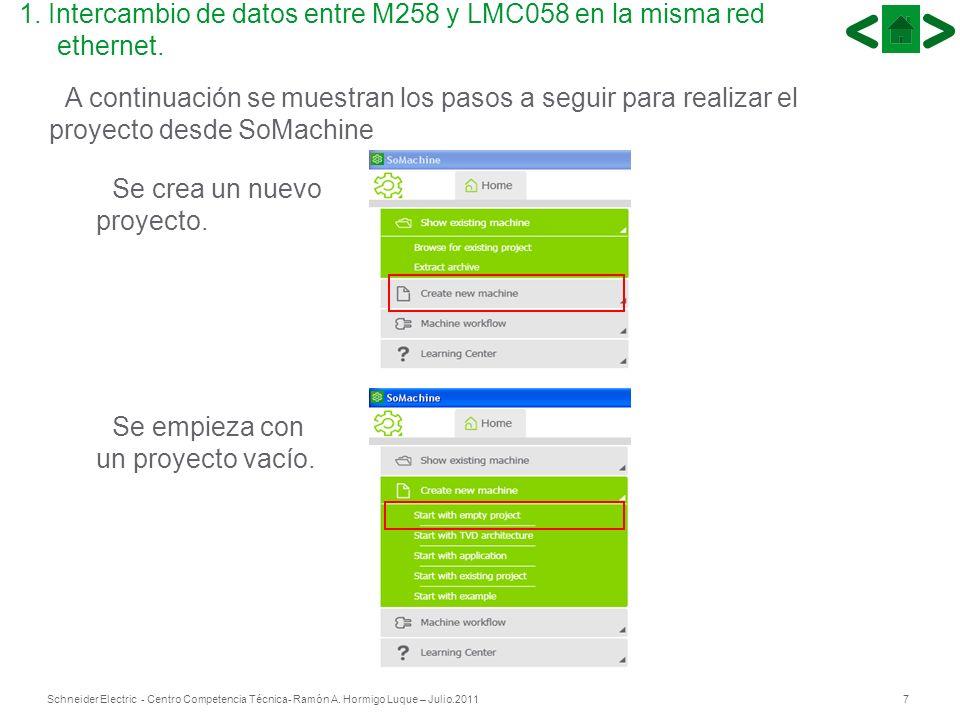 7Schneider Electric - Centro Competencia Técnica- Ramón A. Hormigo Luque – Julio.2011 A continuación se muestran los pasos a seguir para realizar el p