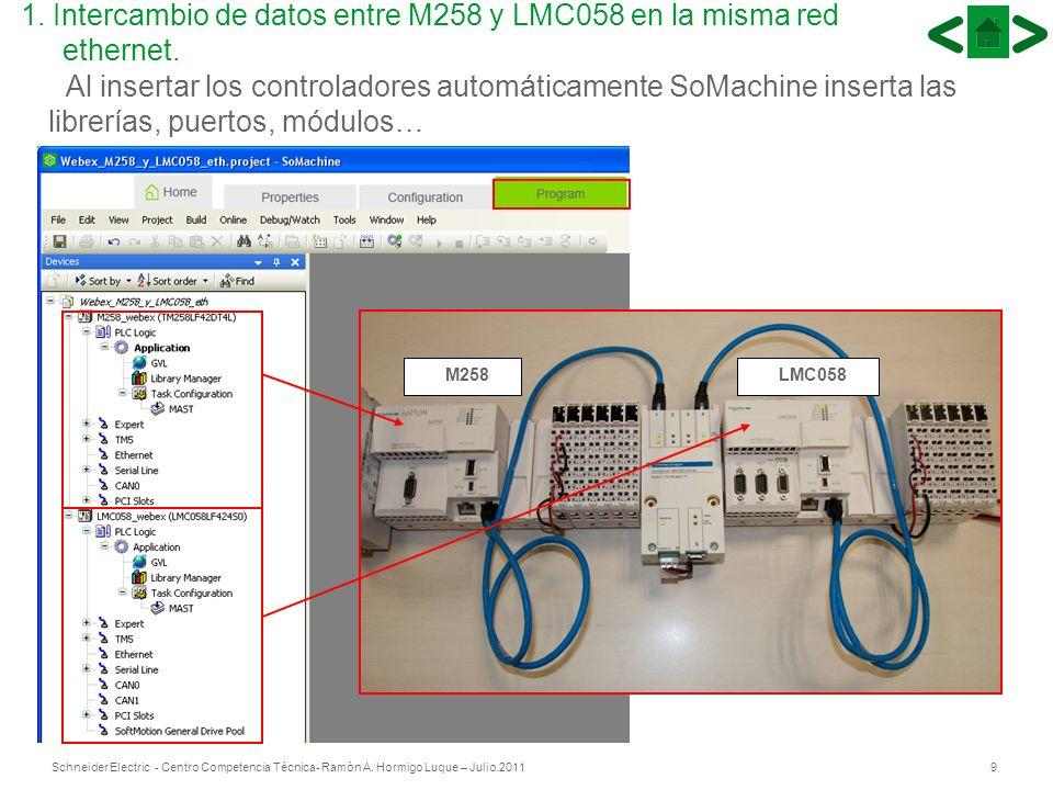 9Schneider Electric - Centro Competencia Técnica- Ramón A. Hormigo Luque – Julio.2011 LMC058 M258 Al insertar los controladores automáticamente SoMach