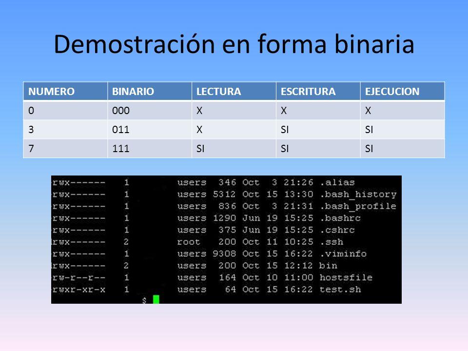 Demostración en forma binaria NUMEROBINARIOLECTURAESCRITURAEJECUCION 0000XXX 3011XSI 7111SI