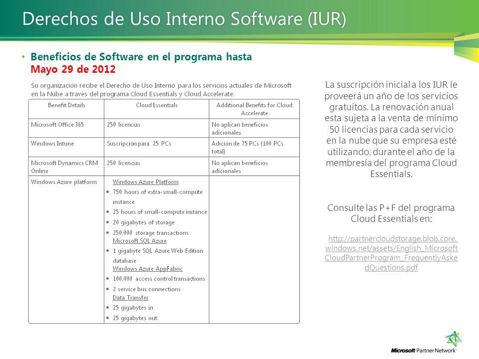 Beneficios de Software en el programa hasta Mayo 29 de 2012 Derechos de Uso Interno Software (IUR)Derechos de Uso Interno Software (IUR) La suscripció